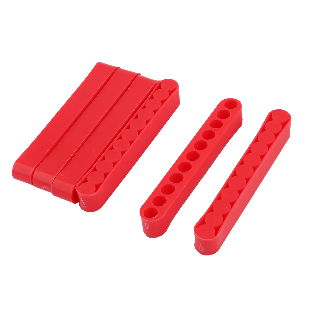 Home Plastic 11 Holes Screwdriver Head Bit Holder Red 8mm Inner Hole Dia 6pcs