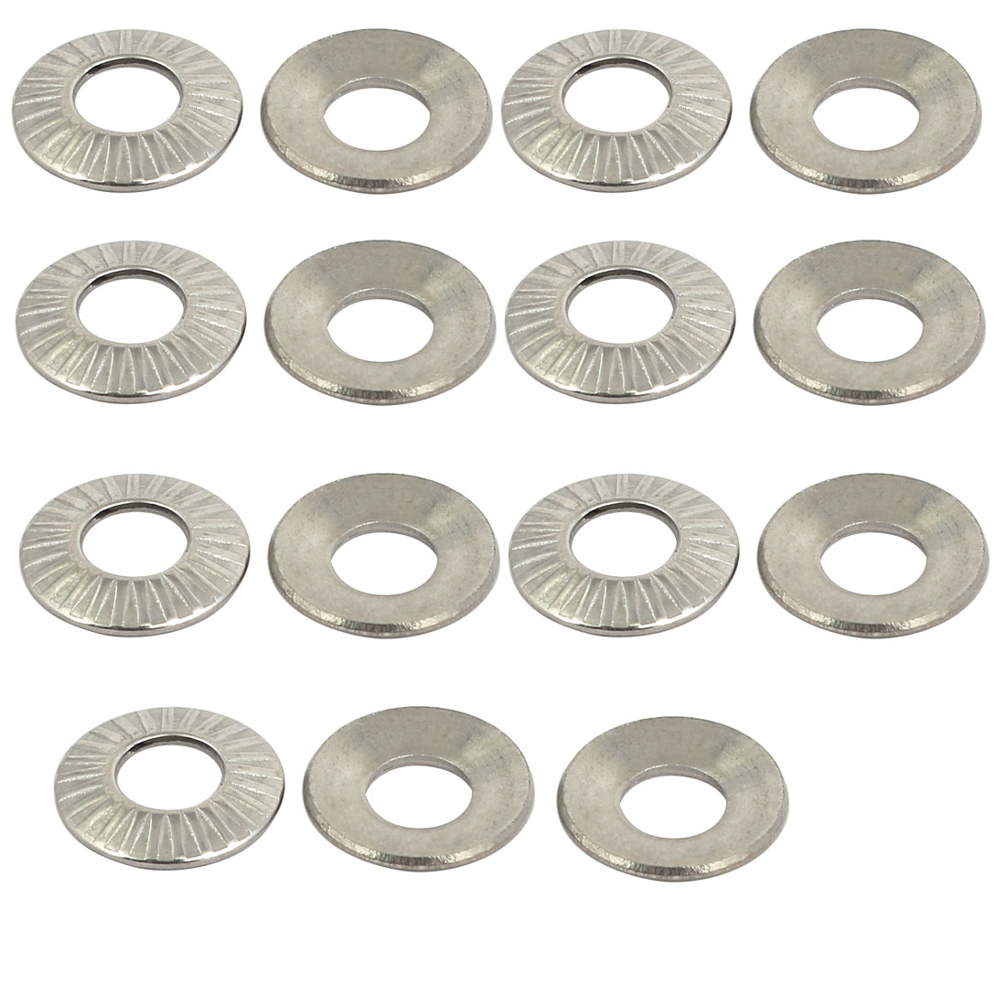 M5 304 Stainless Steel Industrial Locking Washer Silver Tone 15pcs