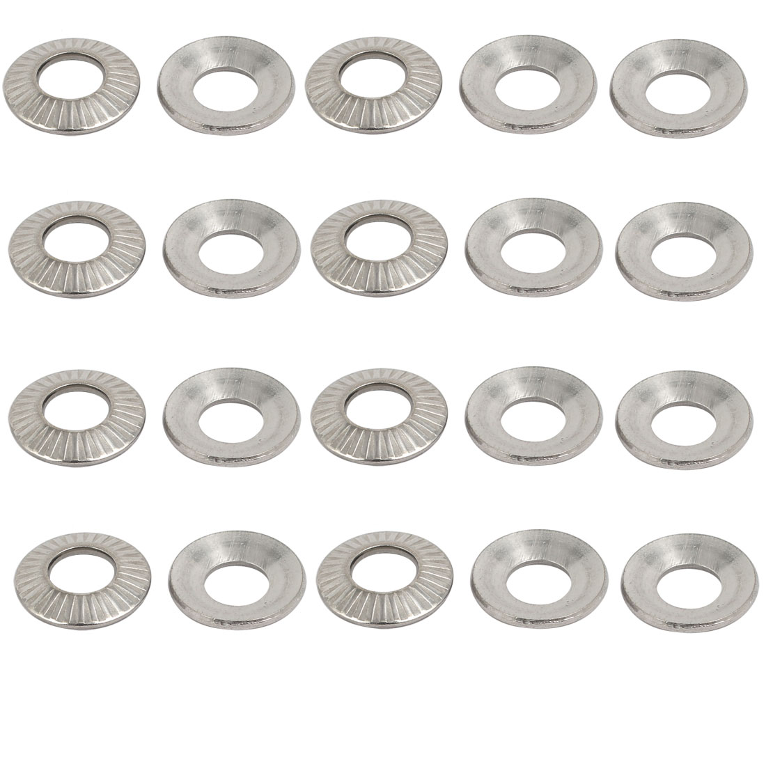 M6 304 Stainless Steel Industrial Locking Washer Silver Tone 20pcs