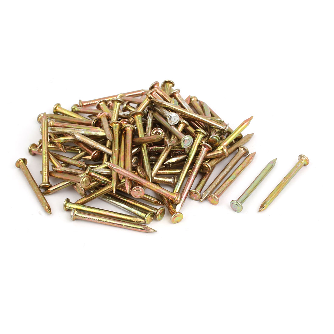 100pcs 40mm Length Steel Point Tip Cement Nail Bronze Tone