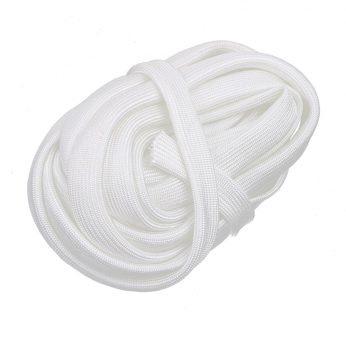 White 600C Temp Resistance Fiberglass PVC Insulation Sleeve 5M Long 10mm Dia