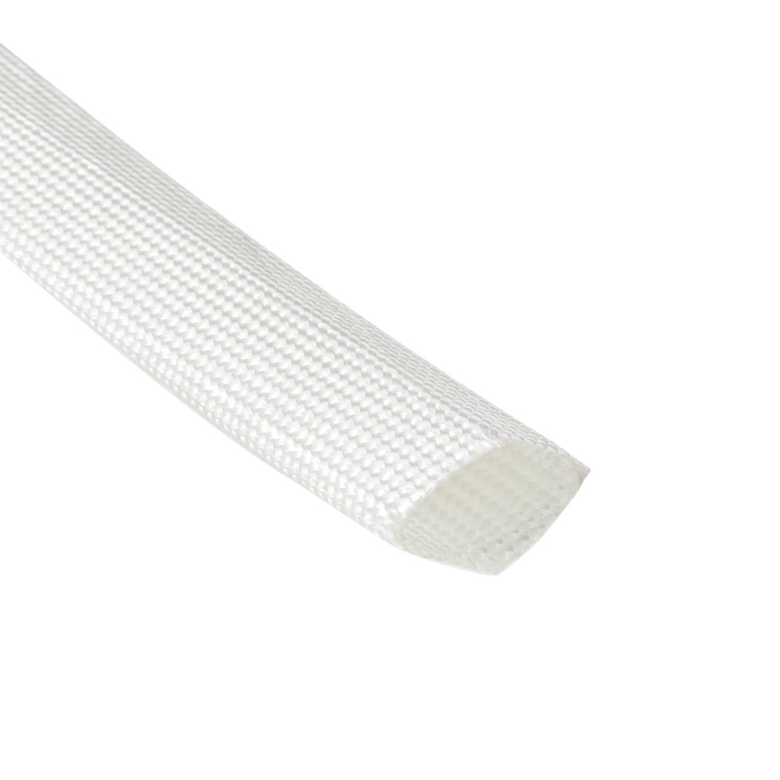 White Electrical Wire Fiberglass PVC Insulation Sleeve 2M Long 20mm Dia