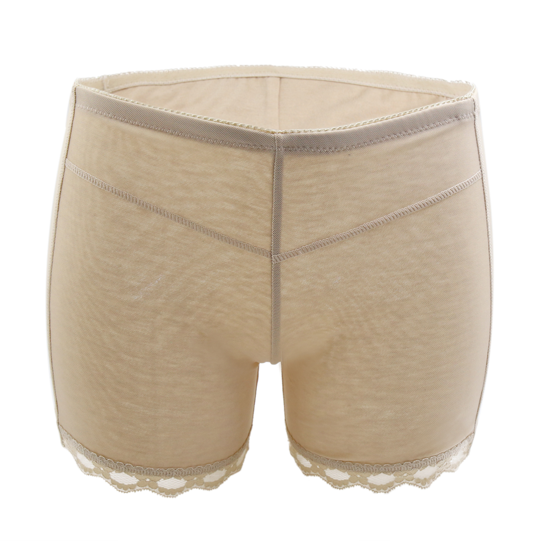 Size M Beige Lace Trim Women Butt Push Up Shaper Panty Tummy Waist Control Shapewear Underwear