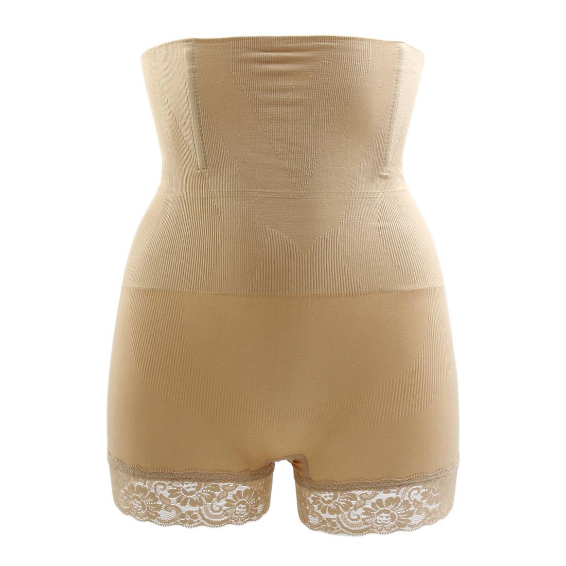 Size M Beige Lace Trim High Waist Body Butt Shaper Panty Abdomen Control Shapewear Underwear