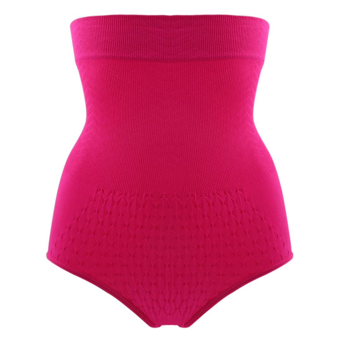 Size M Fuchsia Elastic Fabric Waist Tummy Shaper Panty Body Underwear Shapewear