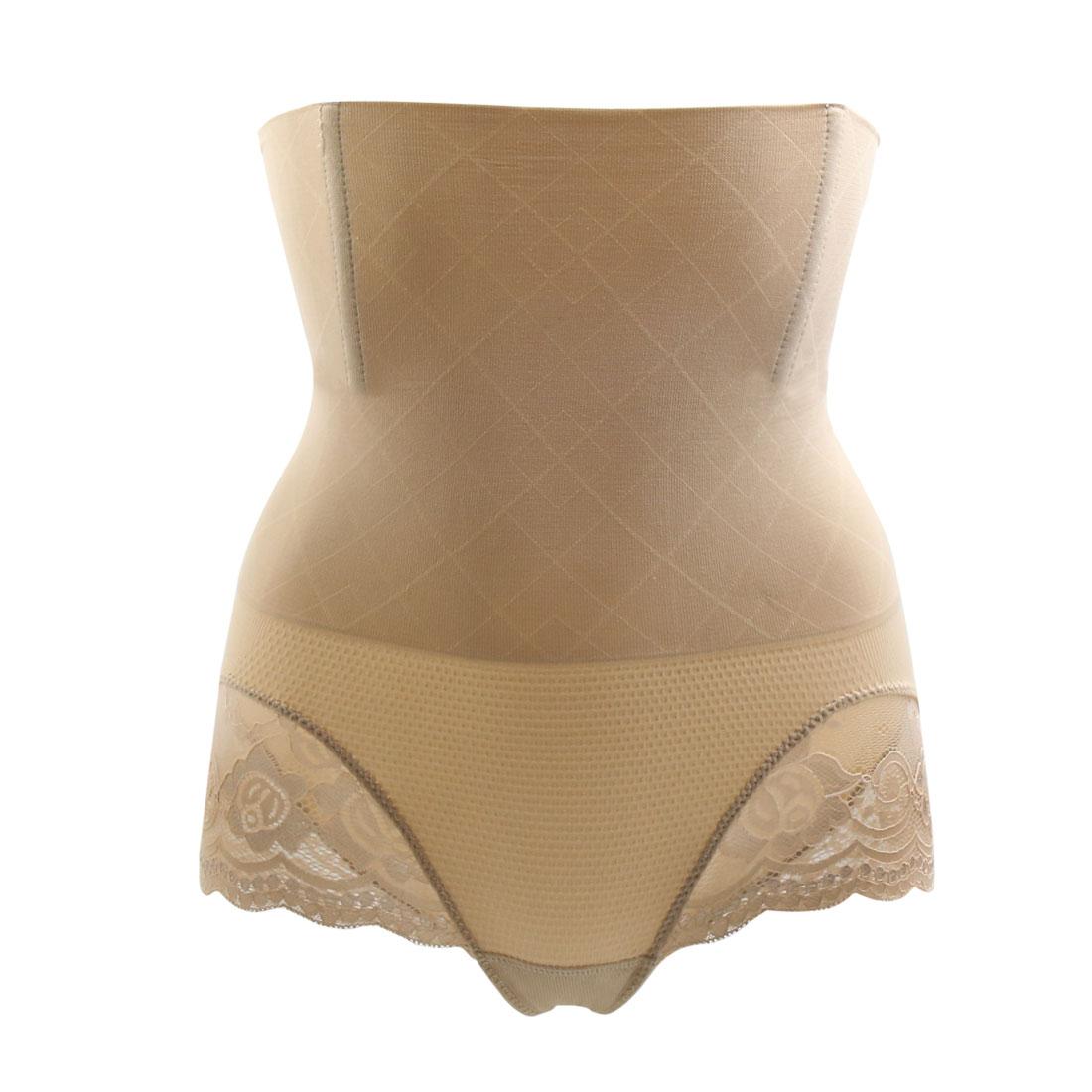 Size M Beige Lace Edge Waist Trainer Body Shaper Panty Tummy Control Butt Push Up Cincher Shapewear