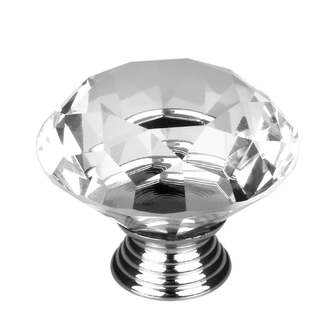 30mm Dia Diamond Shaped Crystal Glass Drawer Knobs Cabinet Pull Handle Clear