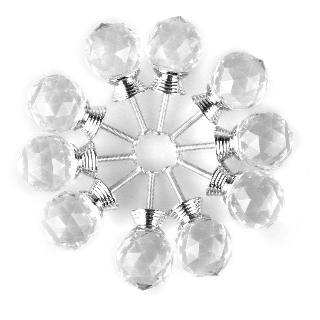Round Clear Crystal Glass Door Furniture Drawer Knobs PullHandle Cabinet 30mm