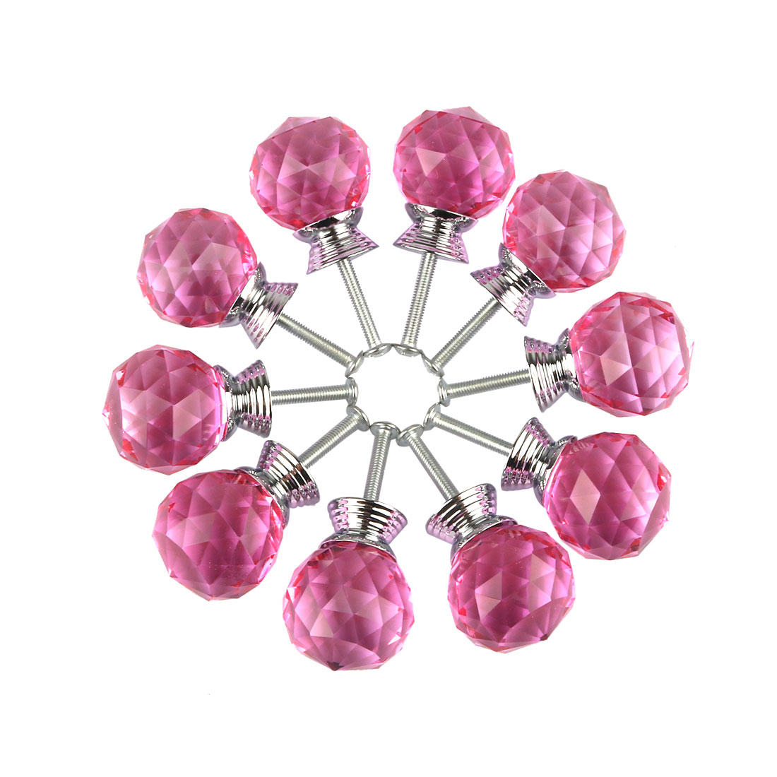 Diamond Crystal Glass Door Furniture Drawer Knobs PullHandle Cabinet 30mm Pink