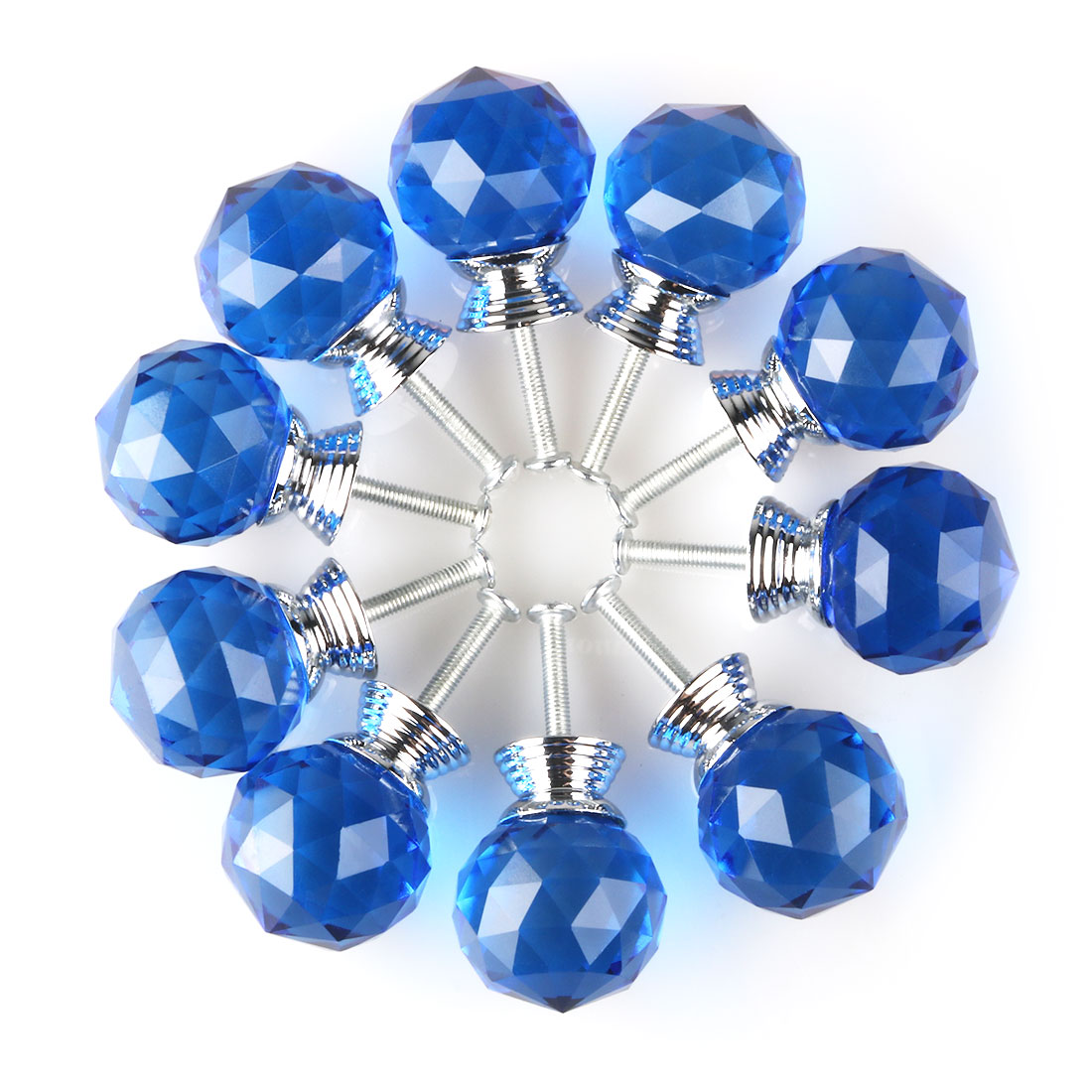 Diamond Crystal Glass Door Furniture Drawer Knobs PullHandle Cabinet 30mm Blue