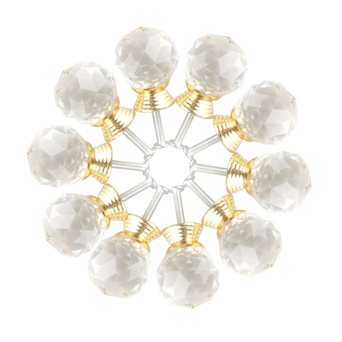 Diamond Crystal Glass Door Furniture Drawer Knobs PullHandle Cabinet 30mm Gold