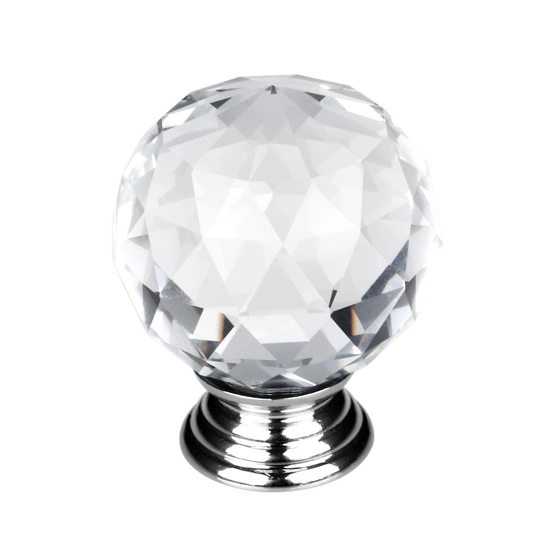 Clear Round Crystal Glass Door Knobs Cupboard Drawer Cabinet Kitchen Handles 1Pc