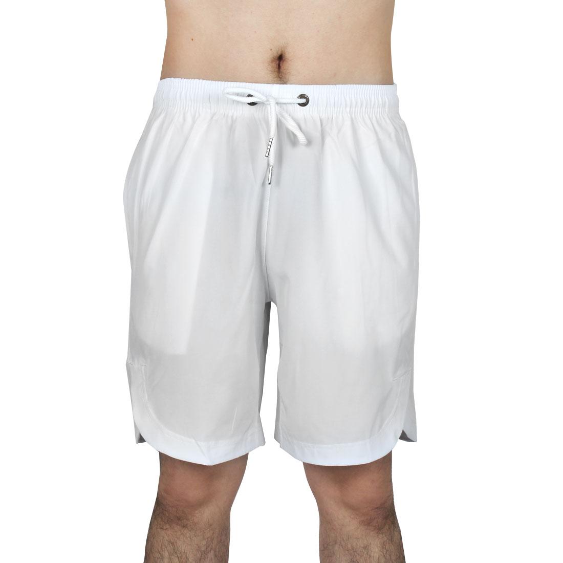 Men Athletics Running Polyester Summer Beach Surf Board Shorts Pants White W28