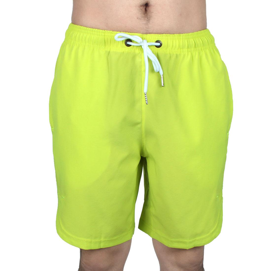 Men Athletics Running Polyester Summer Beach Surf Board Shorts Pants Green W34