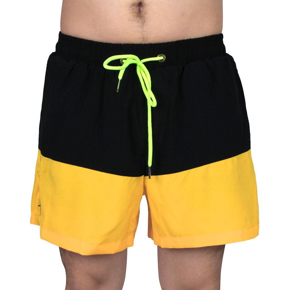Men Sports Running Polyester Summer Beach Surf Board Shorts Pants Yellow W32