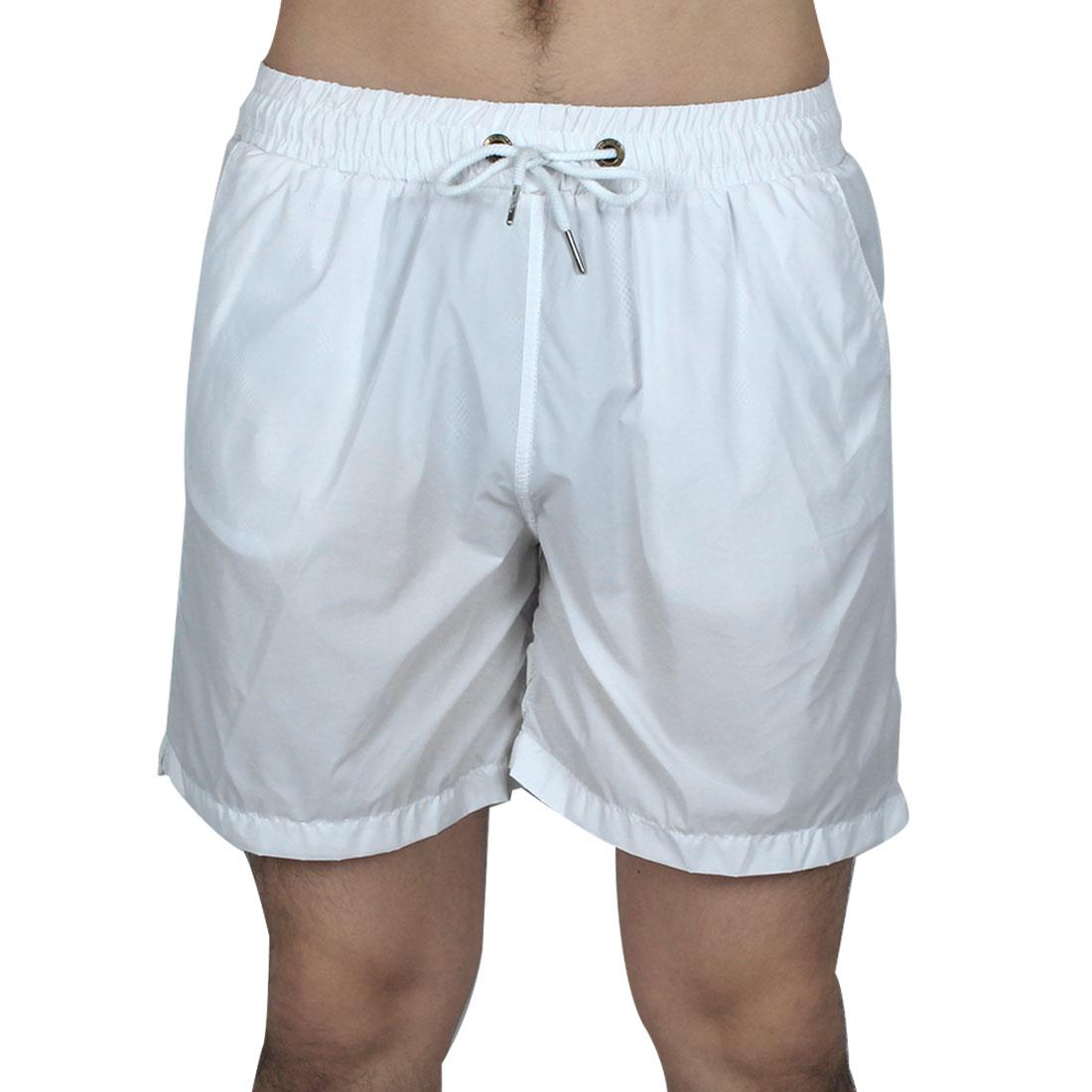 Men Exercise Running Polyester Summer Beach Surf Board Shorts Pants White W34