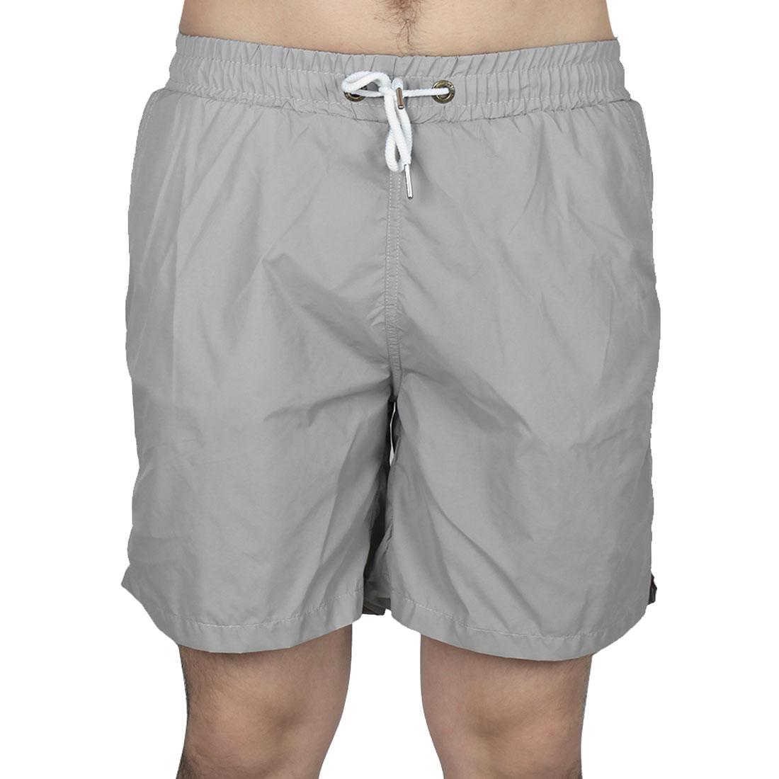 Men Exercise Running Polyester Summer Beach Surf Board Shorts Pants Gray W32