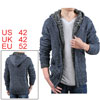 Men Long Sleeves Zip Up Inner Fleece Sweater Hoody Denim Blue L