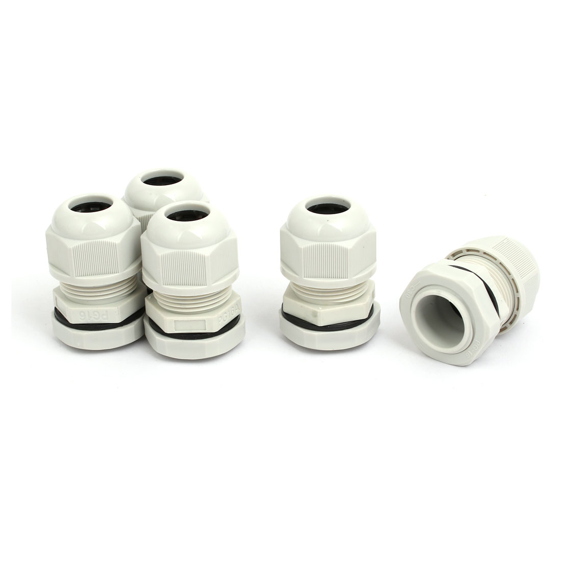 PG16 2mm Adjustable 4 Holes Nylon Cable Gland Joint Gray 5pcs
