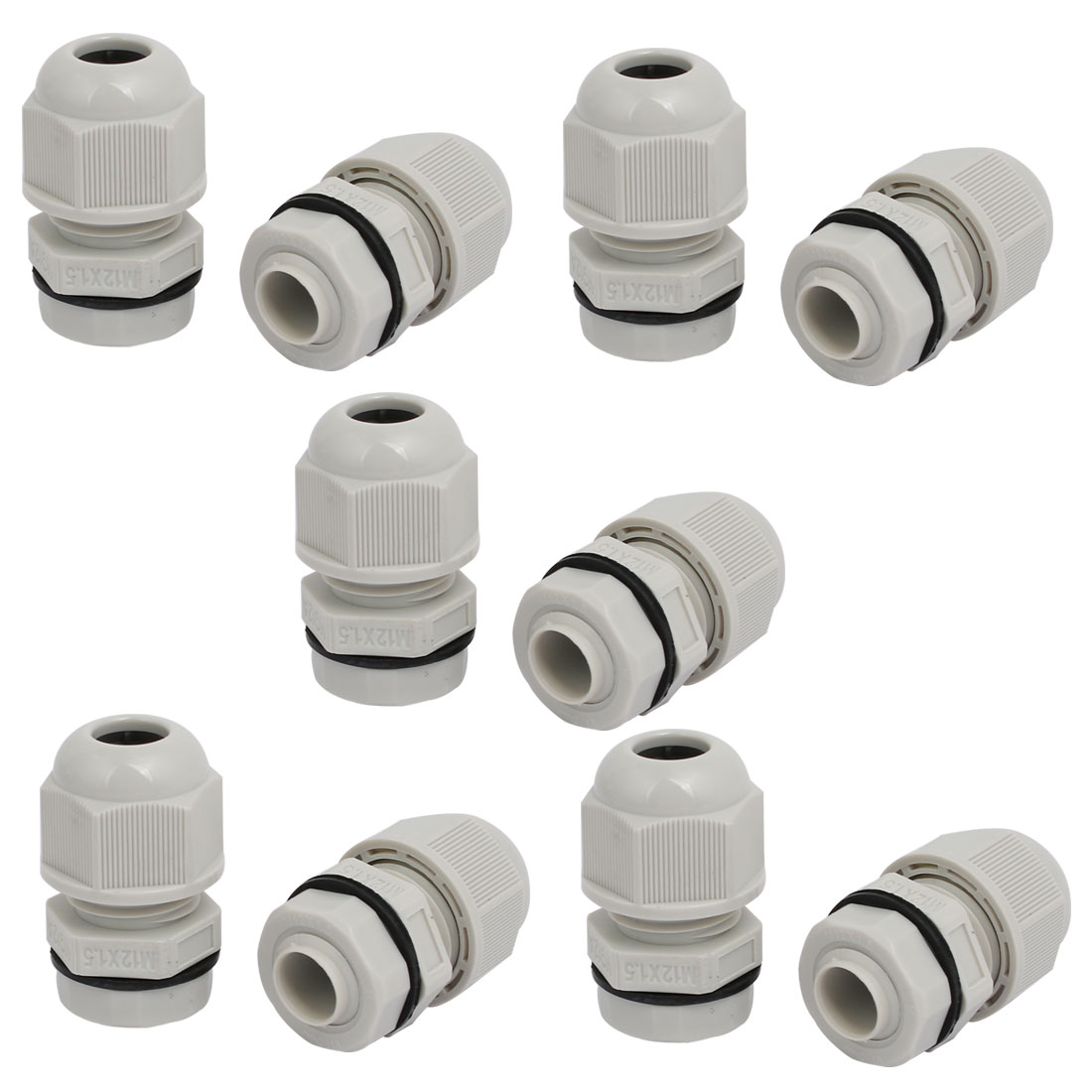 M12x1.5mm 1mm-2.6mm Adjustable 3 Holes Nylon Cable Gland Joint Gray 10pcs