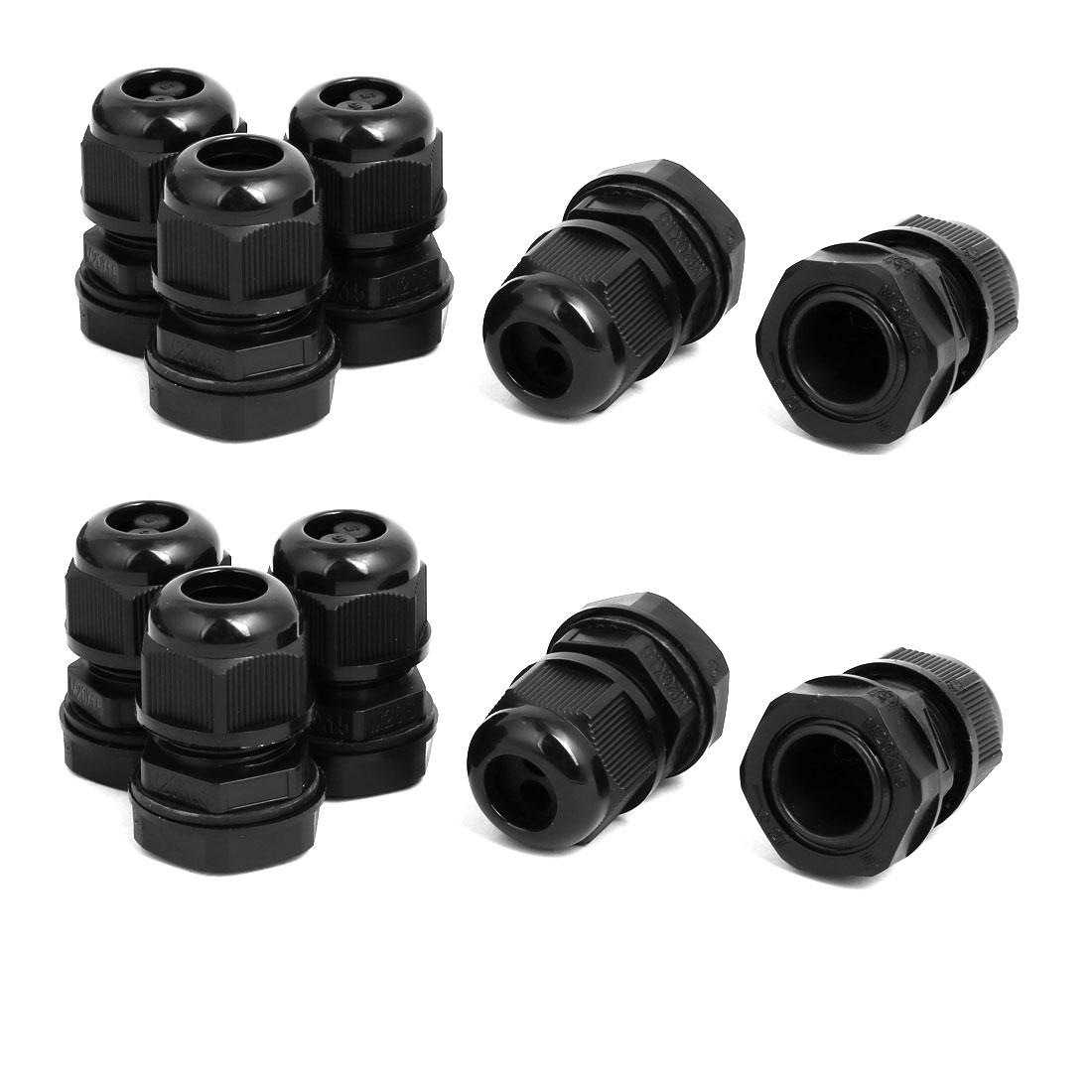 M20 x1.5mm 1.6mm-2.5mm 2 Holes Adjustable Cables Gland Black 10pcs