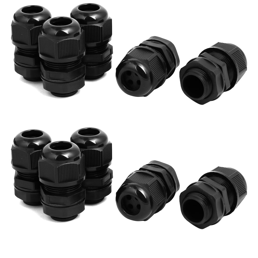 M20 x1.5mm 2mm-3.2mm 4 Holes Adjustable Cables Gland Black 10pcs