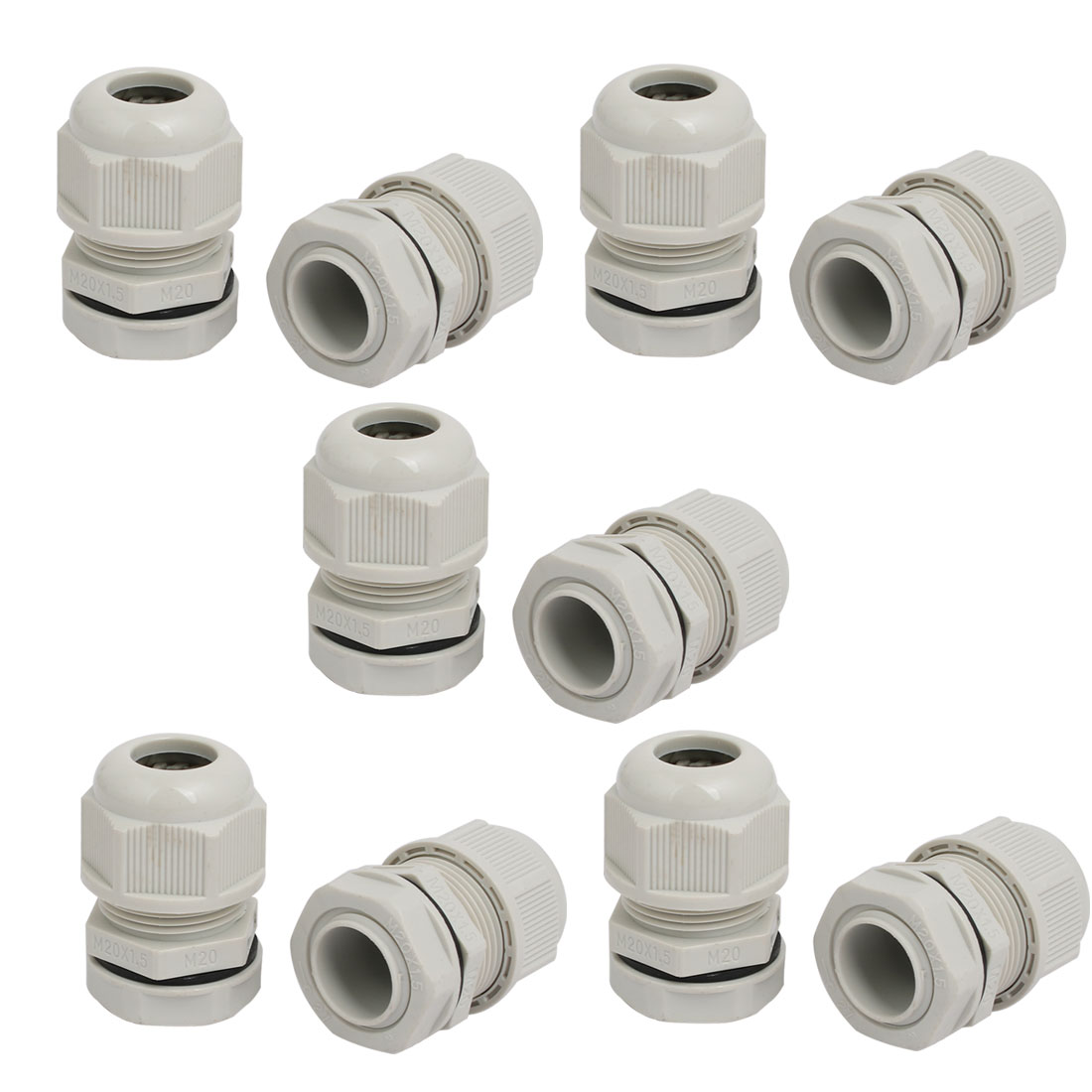 M20 x 1.5mm 3mm-6mm Adjustable 2 Holes Nylon Cable Gland Joint Gray 10pcs