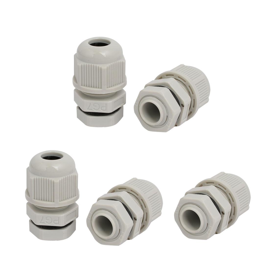 PG7 1.6mm-2.6mm Range Nylon 3 Holes Adjustable Cables Gland Connector Gray 5pcs