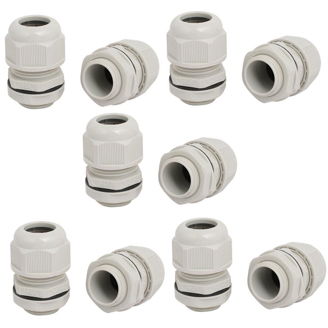 M25x1.5mm 5mm-7.1mm Adjustable 4 Holes Nylon Cable Gland Joint Gray 10pcs