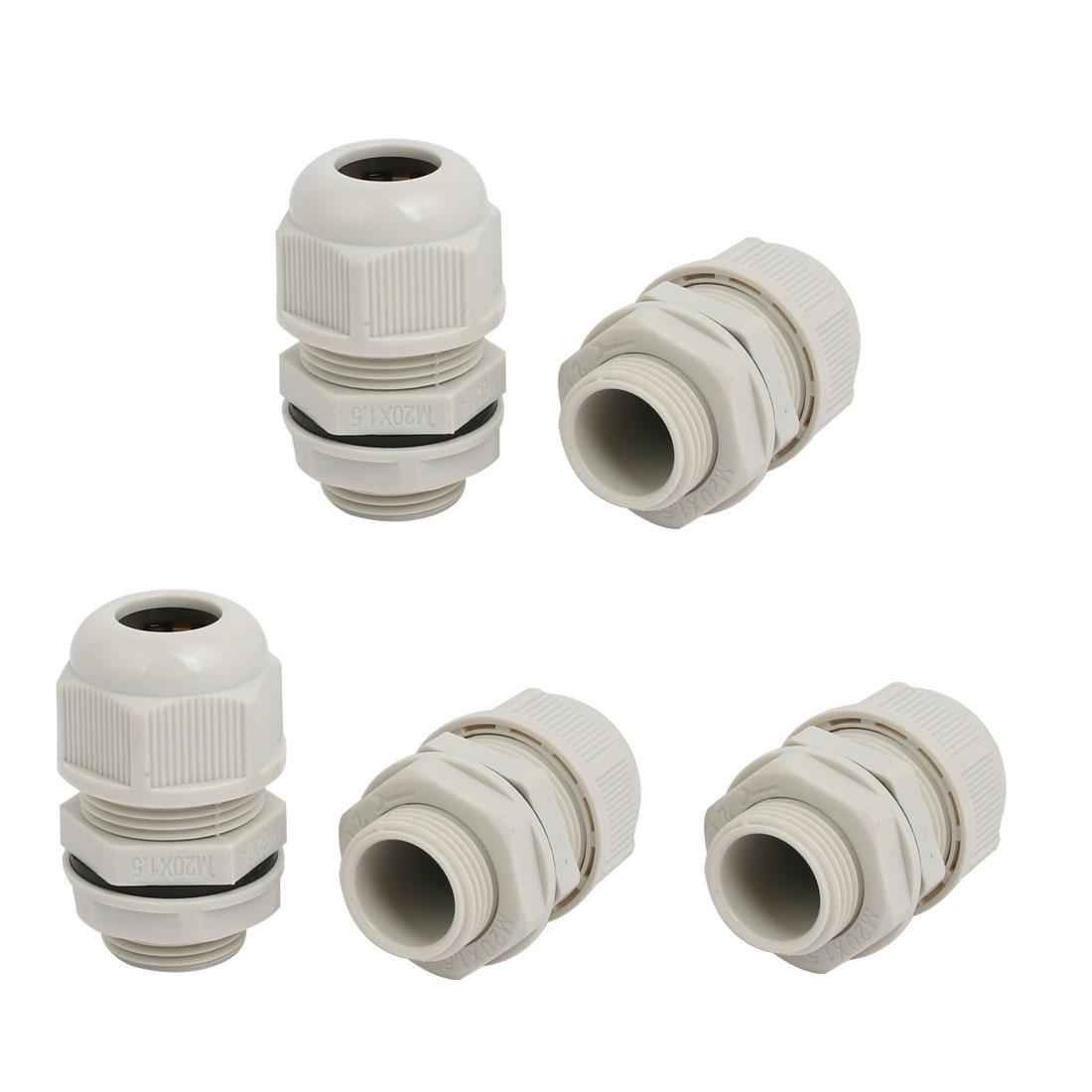 M20x1.5mm 3mm-5.2mm Range Nylon 3 Holes Adjustable Cables Gland Gray 5pcs