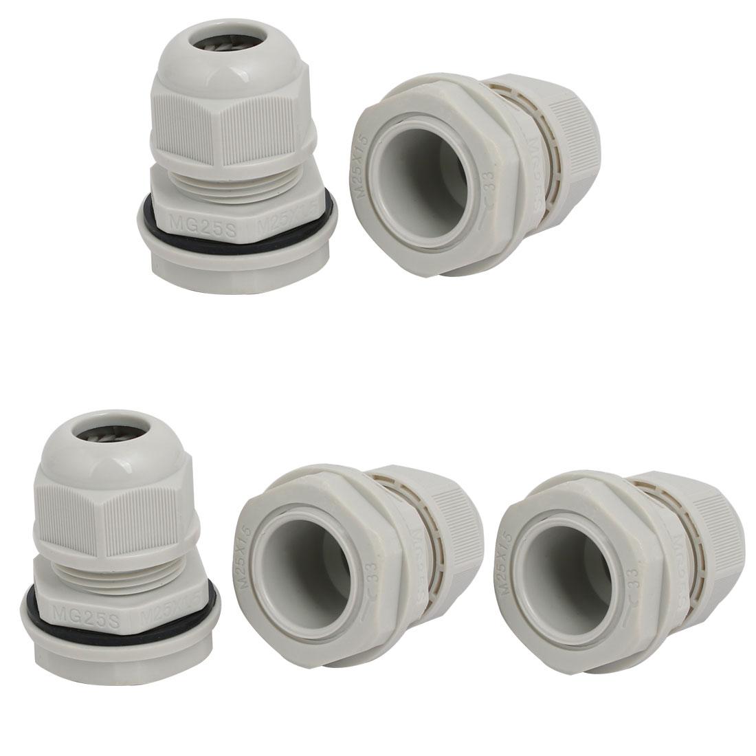 M25x1.5mm 3mm-5.5mm Range Nylon 4 Holes Adjustable Cables Gland Gray 5pcs