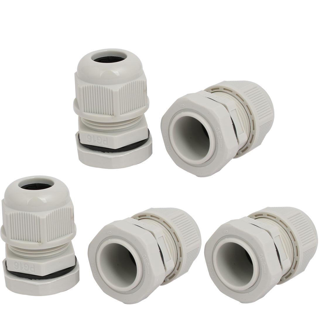 PG16 4mm-6mm Range Nylon 2 Holes Adjustable Cables Gland Connector Gray 5pcs