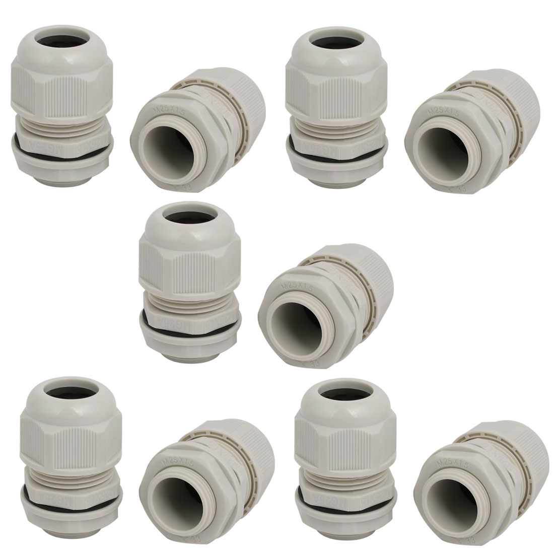 M25x1.5mm Nylon 3 Holes Adjustable Cables Gland Joint Connector Gray 10pcs