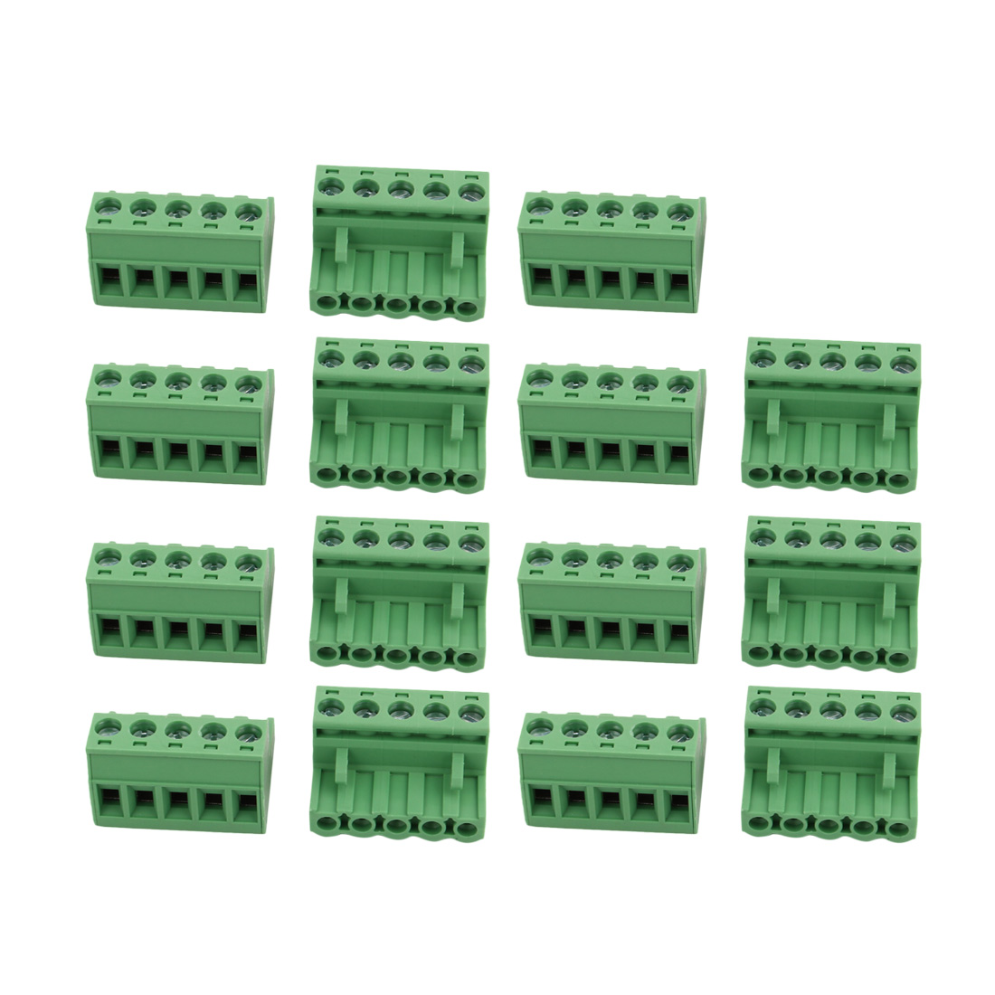 15Pcs LC1 AC300V 15A 5.08mm Pitch 5P PCB Terminal Block Wire Connection