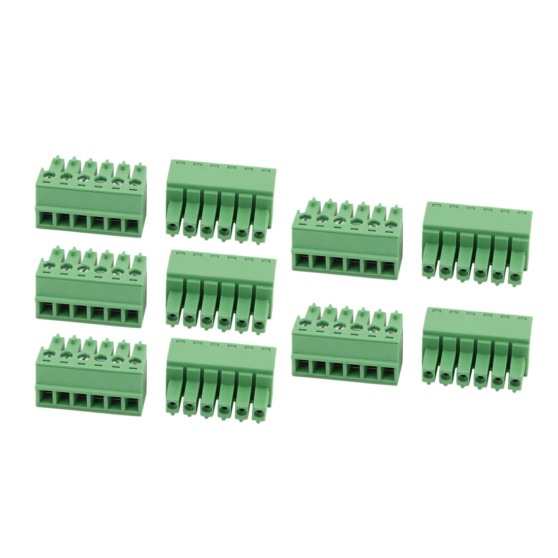 10Pcs AC300V 8A 3.81mm Pitch 6P Terminal Block Wire Connection for PCB Mounting