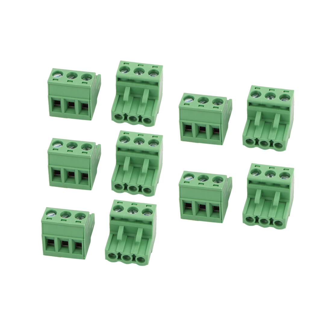 10Pcs AC300V 15A 5.08mm Pitch 3P Terminal Block Wire Connection for PCB Mounting