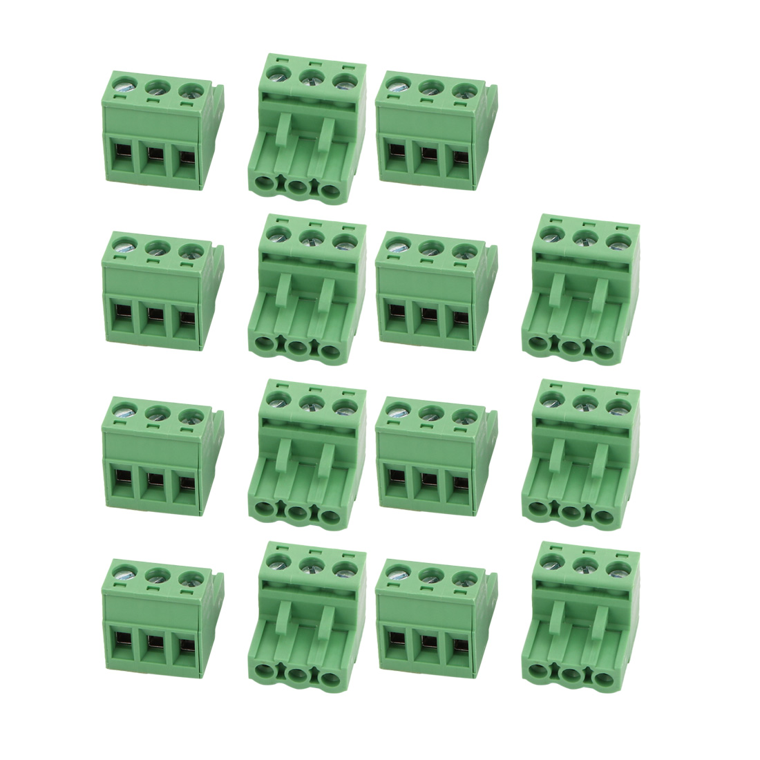 15Pcs AC300V 15A 5.08mm Pitch 3 Position Terminal Block Wire Connection