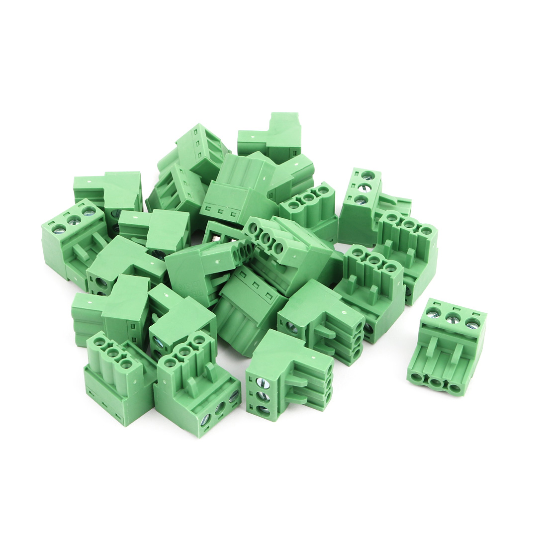25Pcs AC 300V 15A 5.08mm Pitch 3P Terminals Block Wire Connection f PCB Mounting