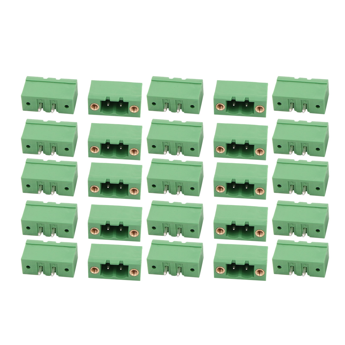 25Pcs AC300V 17.5A 5.08mm Pitch 2P Terminal Block Wire Connection f PCB Mounting