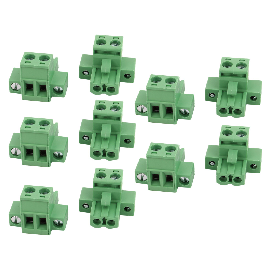 10 Pcs LC1M AC300V 15A 5.08mm Pitch 2P PCB Mount Terminal Block Wire Connector