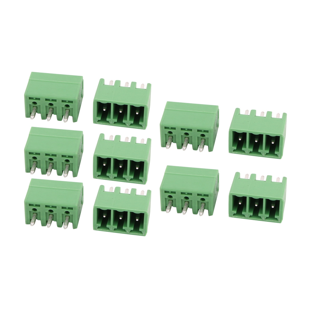 10Pcs AC300V 8A 3.81mm Pitch 3P Terminal Block Wire Connection for PCB Mounting