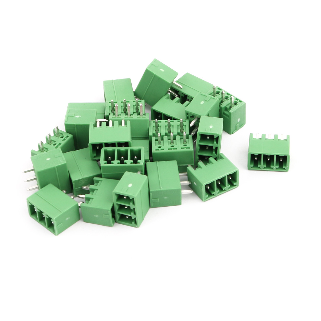 25Pcs AC 300V 8A 3.81mm Pitch 3P Terminal Block Wire Connection for PCB Mounting