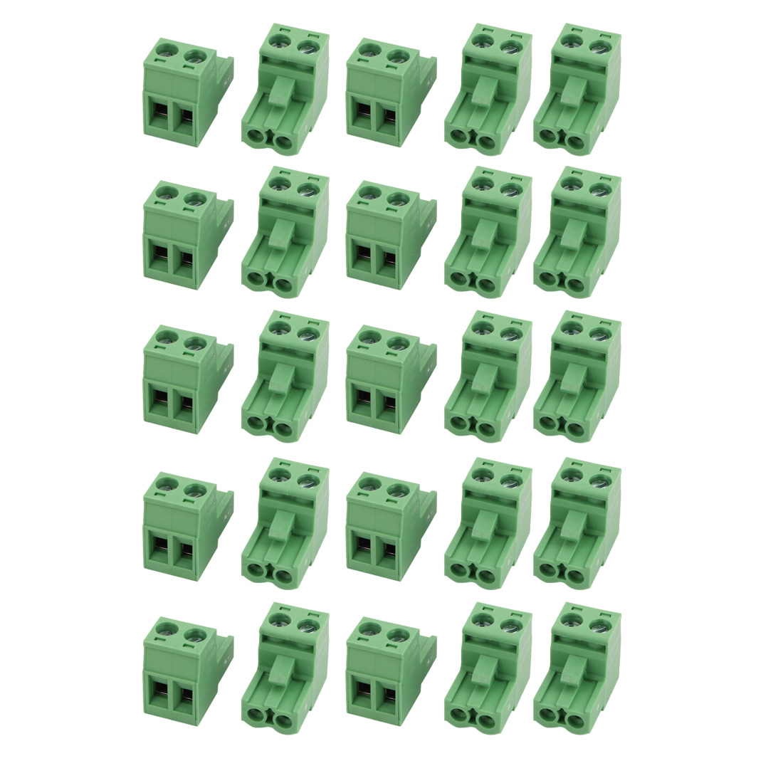 25Pcs LC1 AC300V 15A 5.08mm Pitch 2P PCB Mount Terminal Block Wire Connector