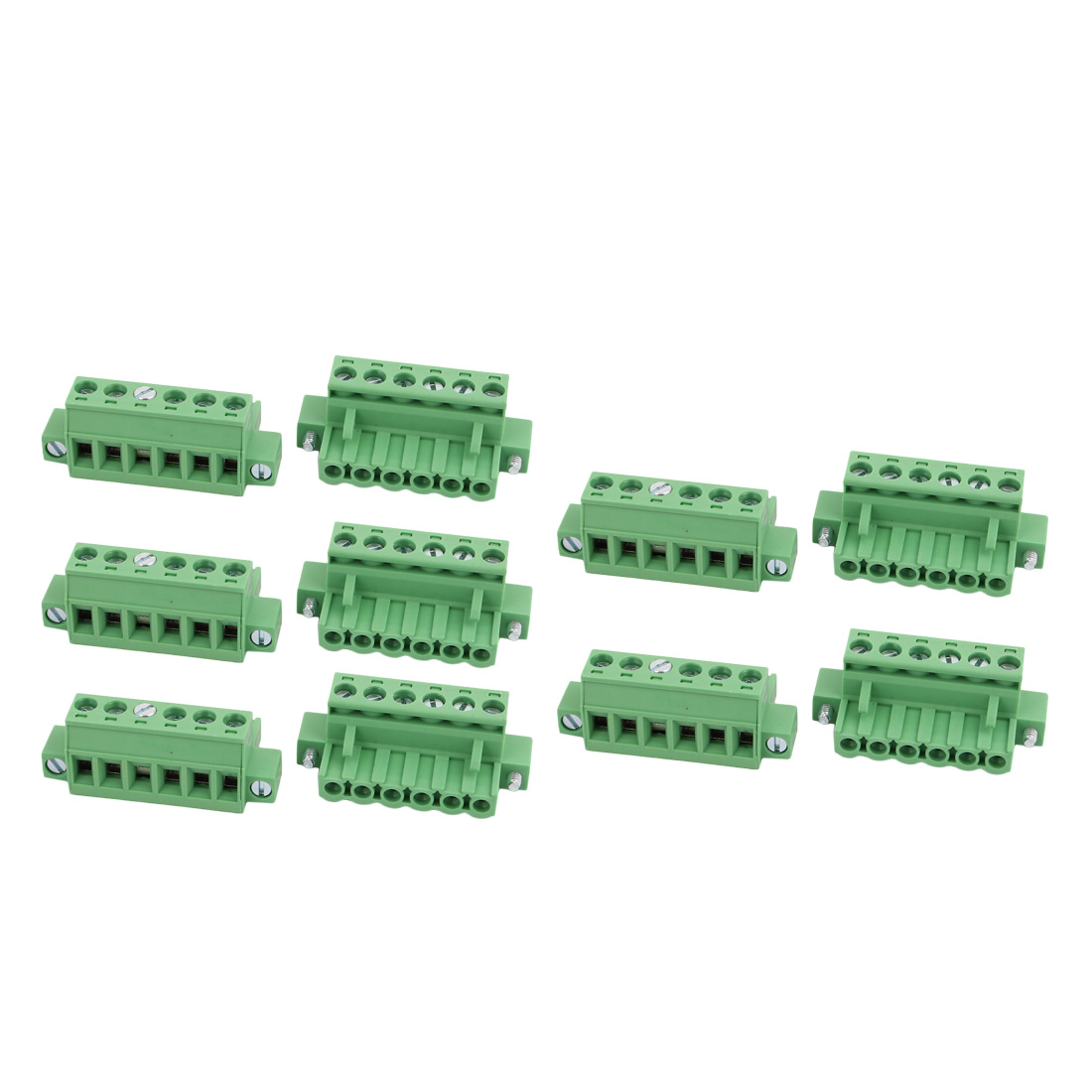 10 Pcs LC1M AC300V 15A 5.0mm Pitch 6P PCB Mount Terminal Block Wire Connector