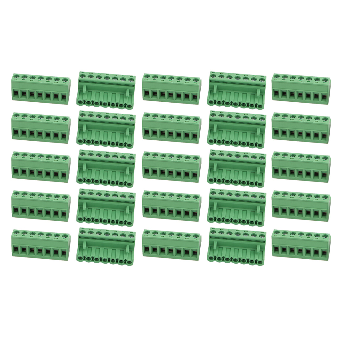 25Pcs AC 300V 15A 5.08mm Pitch 7P Terminal Block Wire Connector for PCB Mounting