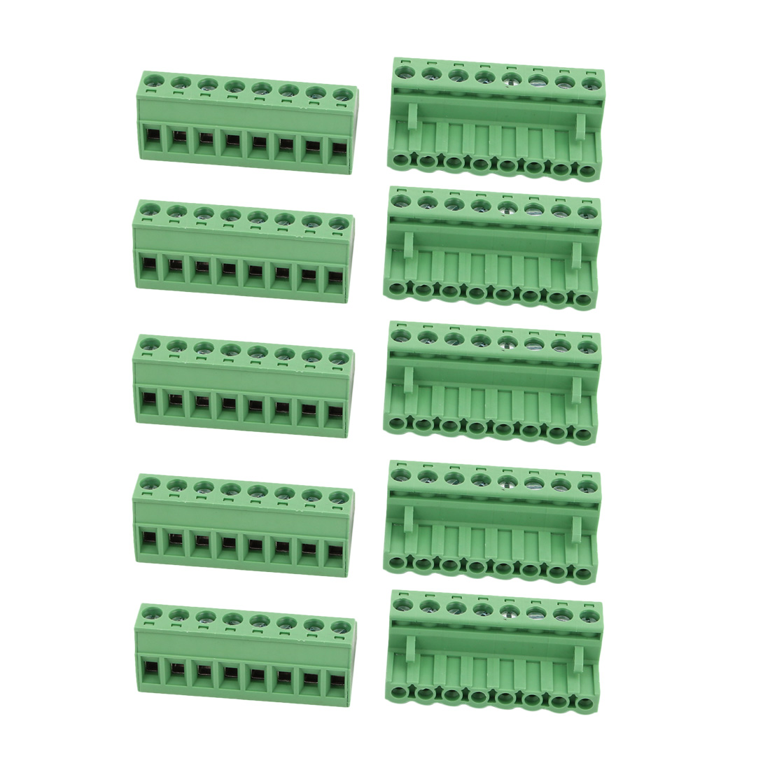 10Pcs AC300V 15A 5.08mm Pitch 8P Terminal Block Wire Connection for PCB Mounting