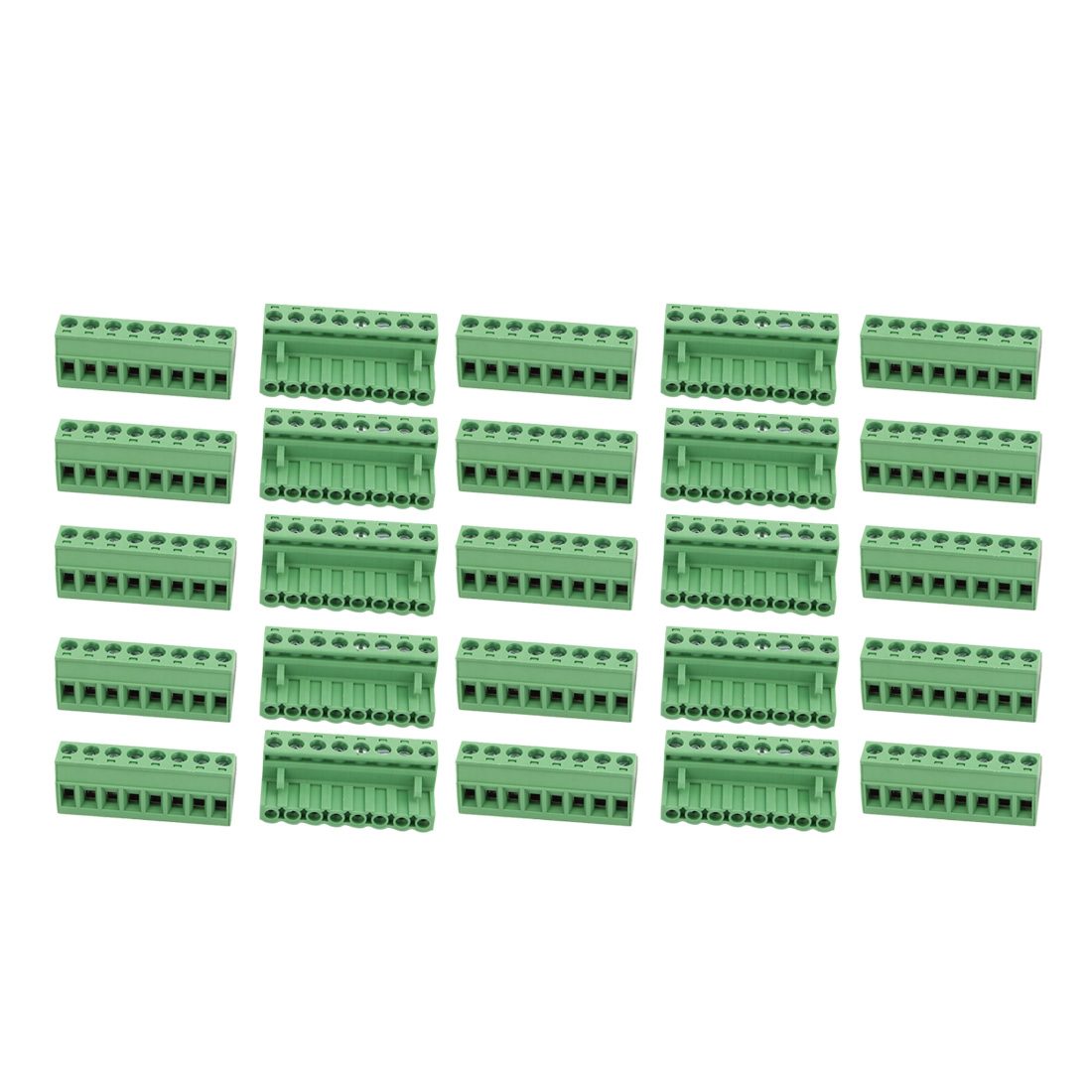 25Pcs AC 300V 15A 5.08mm Pitch 8P Terminal Block Wire Connector for PCB Mounting