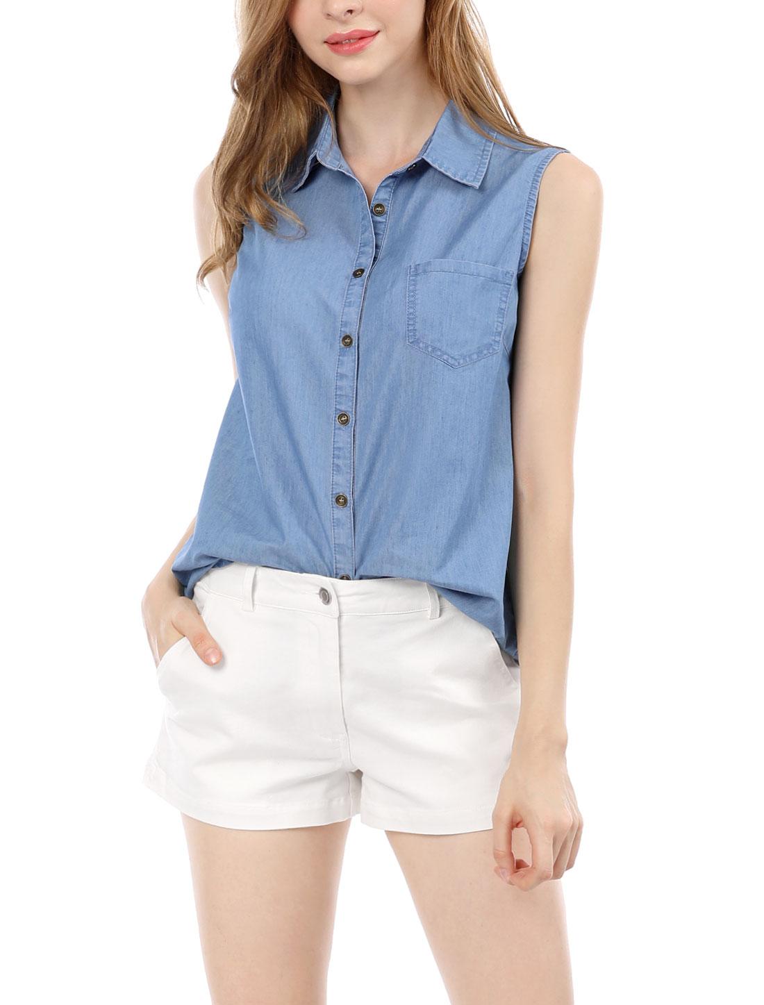 Allegra K Women Single Breasted Collar Sleeveless Shirt Blue XL