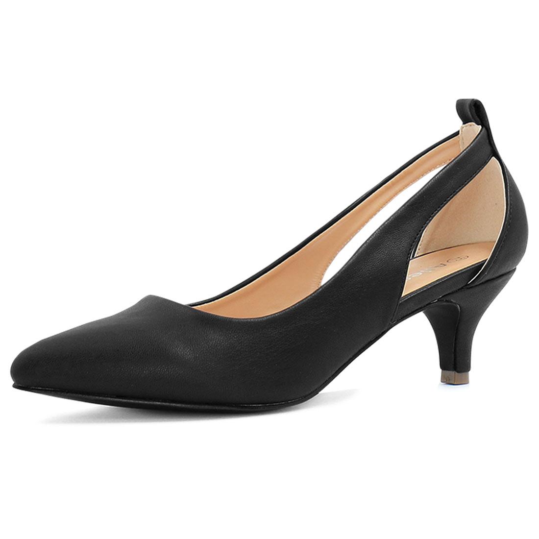 Allegra K Women's Cutout Sides Pointed Toe Kitten Heel Pumps Black US 9