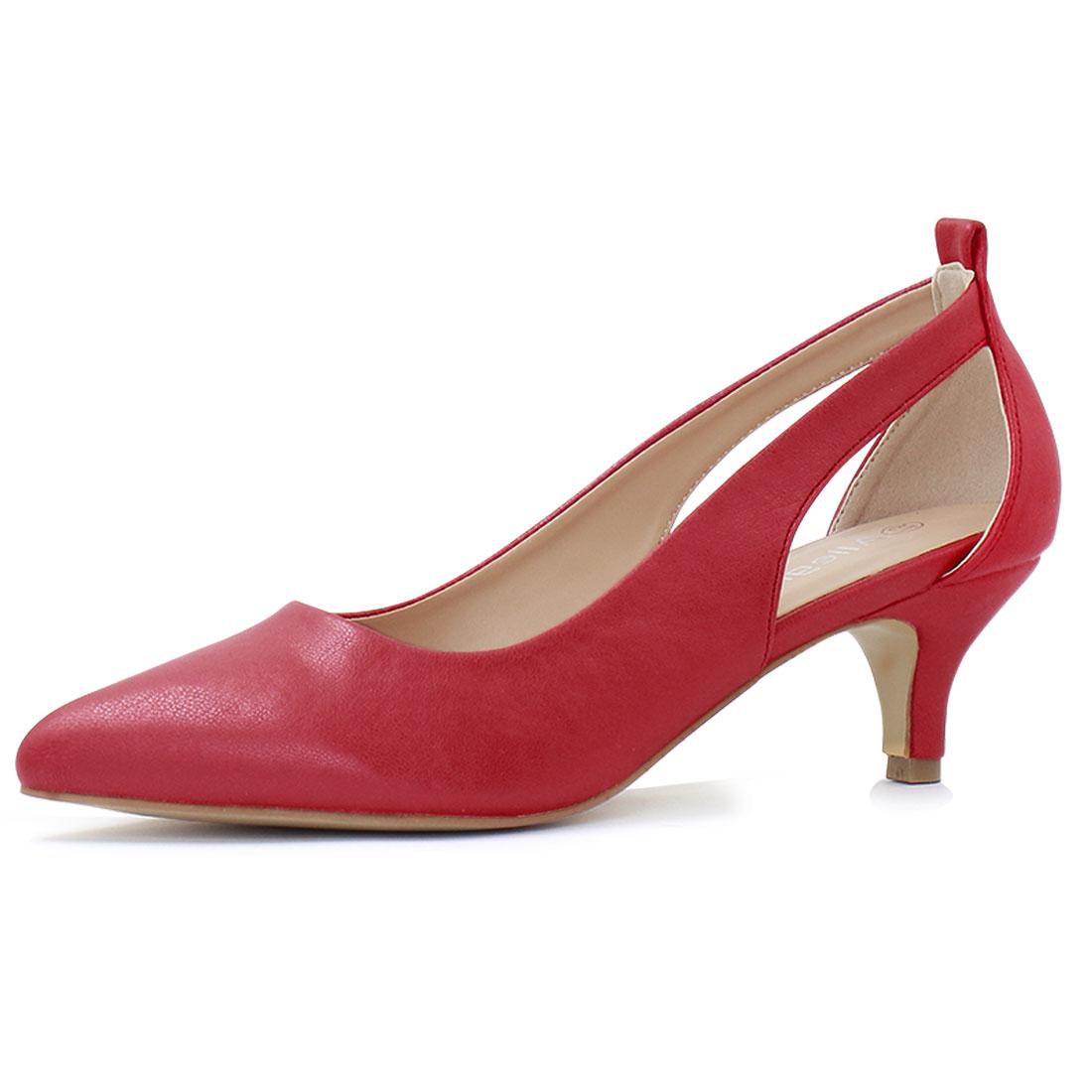 Allegra K Women's Cutout Sides Pointed Toe Kitten Heel Pumps Red US 7.5